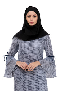 Persian Blue Bell Sleeve Tunic By Ruqsar