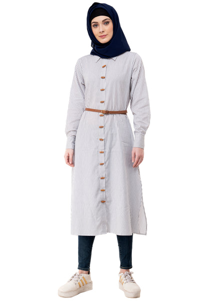 Ruqsar Women Classic Shirt Dress and White Waterfall Dungaree Dress Combo
