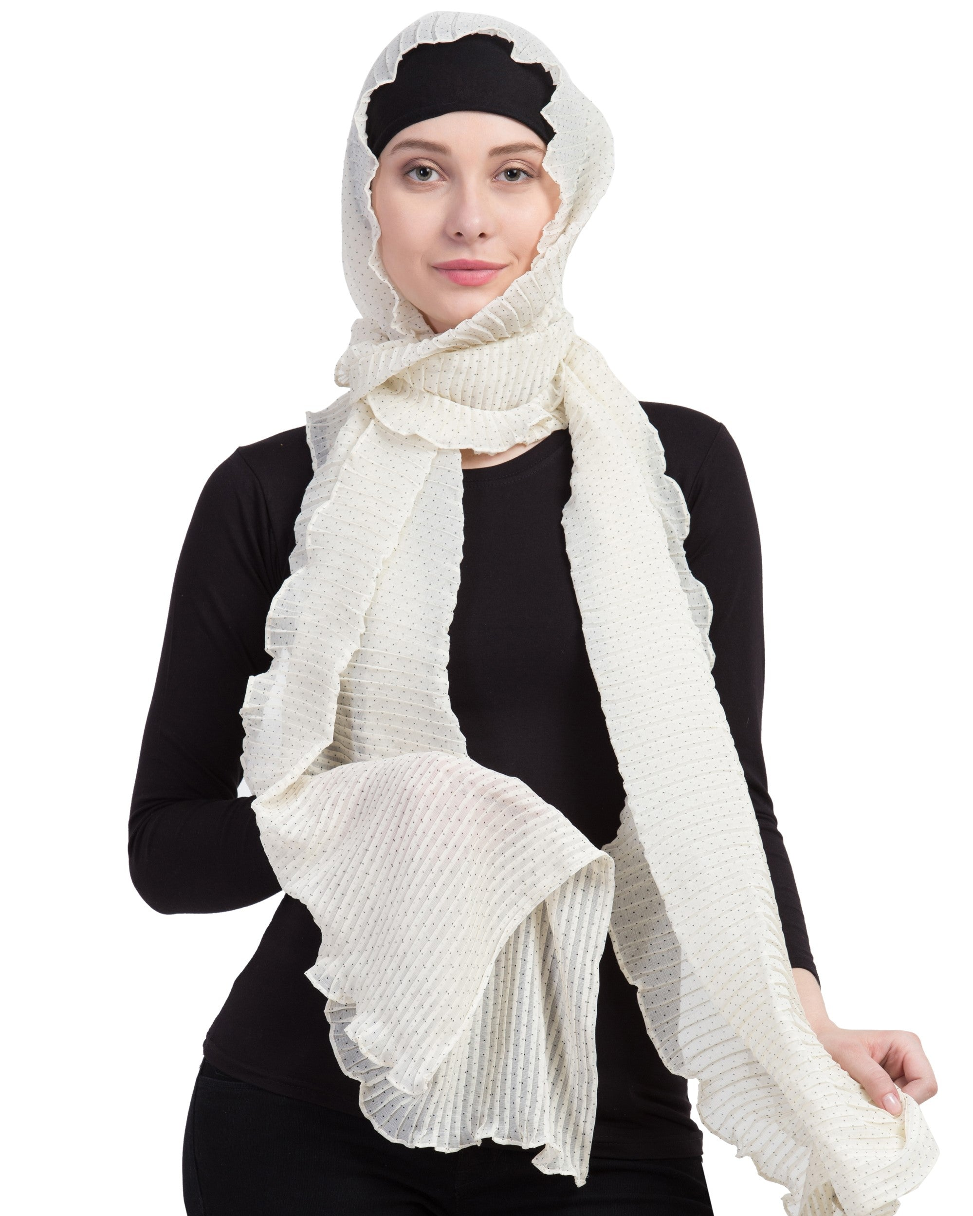 Ruqsar Pleated Polkas Headscarf