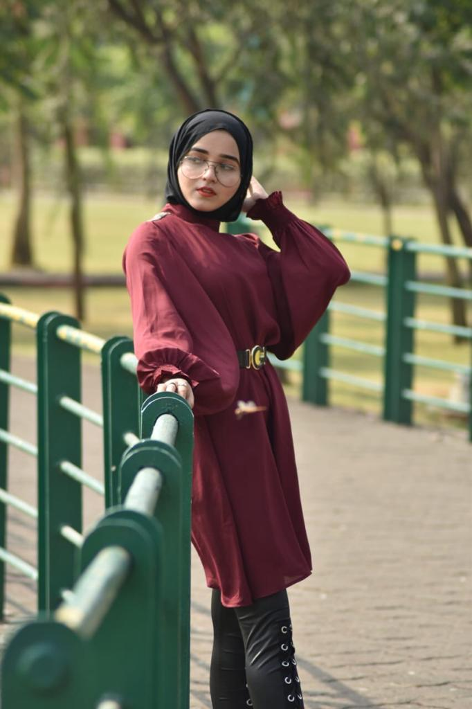 High-Neck Tunic Dress By Ruqsar