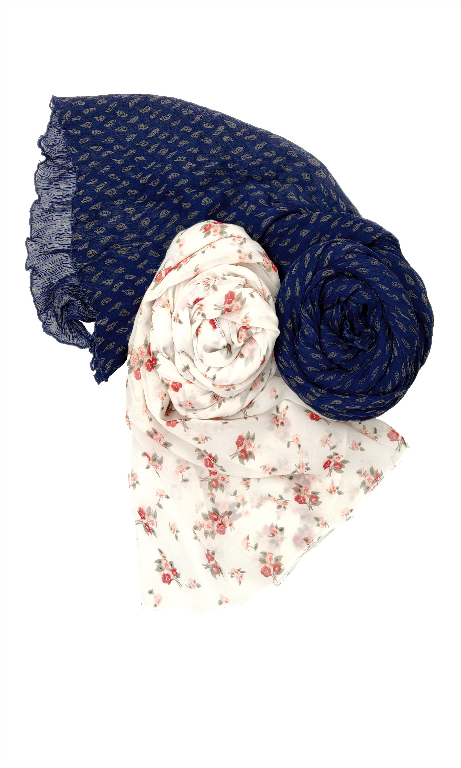 Ruqsar Combo Floral Corsage Stole and Icy Indigo stole