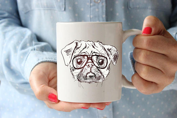 Hipster Pug Coffee Lovers Mug