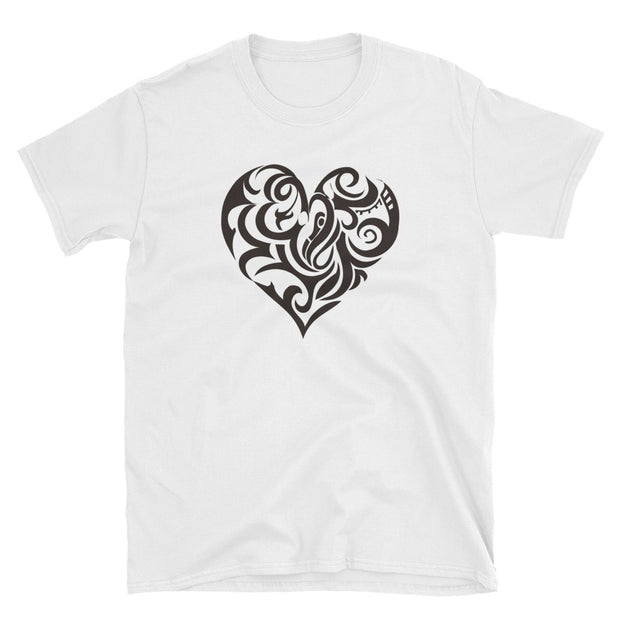 Unisex Heart Print Short Sleeve T-Shirt - Gildan