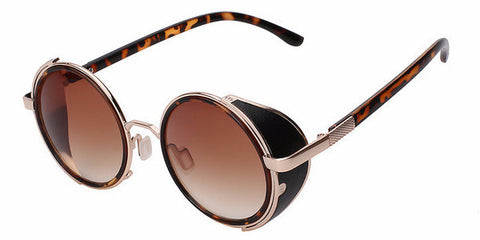 Wrap Metal Steampunk Sunglasses (Leopard + Gold) - Brown Lens