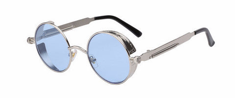 Steampunk Sunglasses (Silver) - Sea Blue Lens