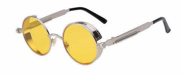 Steampunk Sunglasses (Silver) - Yellow Lens