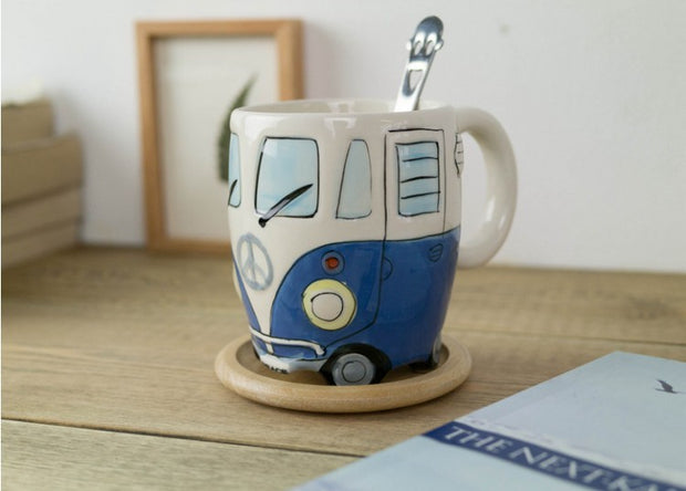 Retro Bus Mug - Hand-Painted