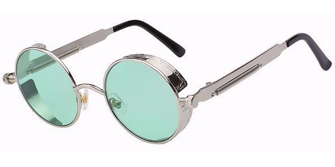 Steampunk Sunglasses (Silver) - Green Lens