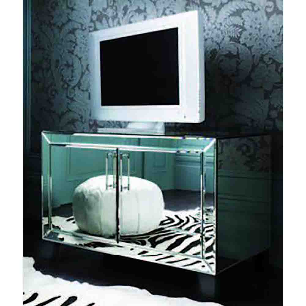 Perfect Bordeaux Mirrored Media Cabinet