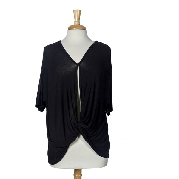 Plus Size Black Knit Short Sleeved Top with a Knotted Front