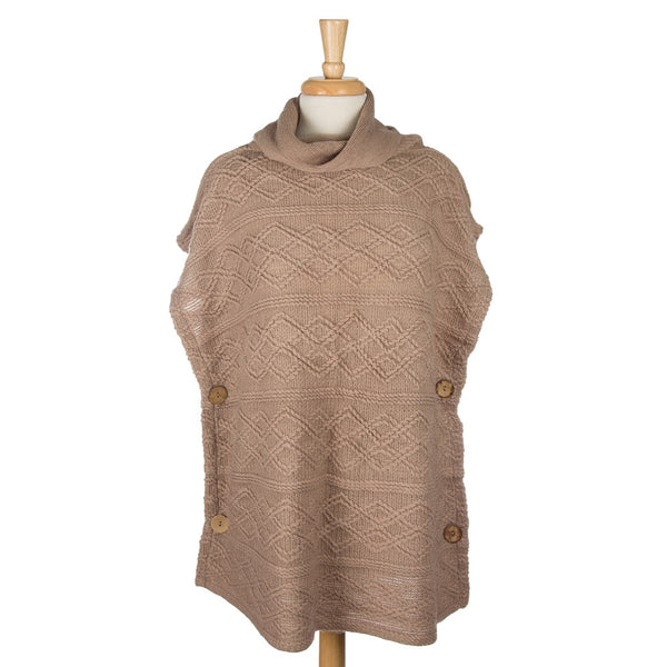 Turtle Neck, Short Sleeve Poncho (6 Colors Available)