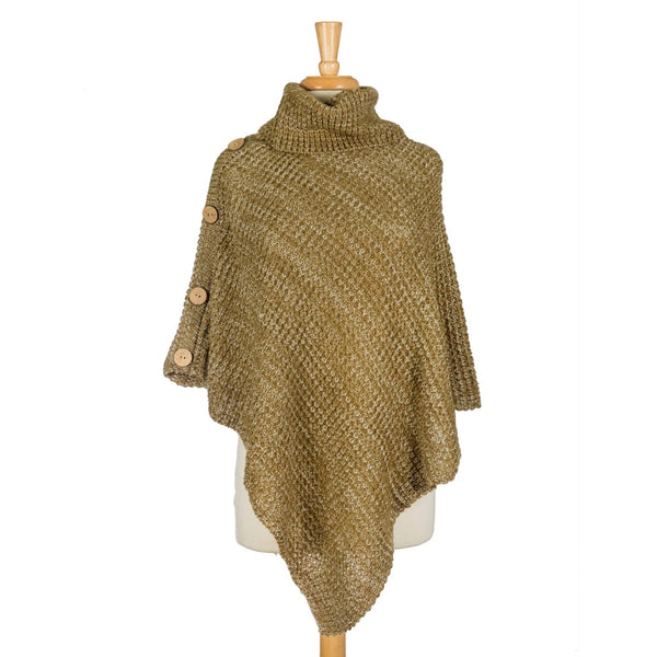 Heavyweight, Knit Poncho, Turtleneck Sweater Top with Wooden Button Accents (Available in 4 Colors)