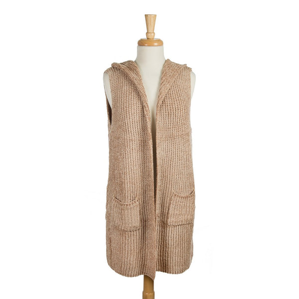 Hooded, Chenille Vest with Two Front Pockets (Available in 2 Colors)