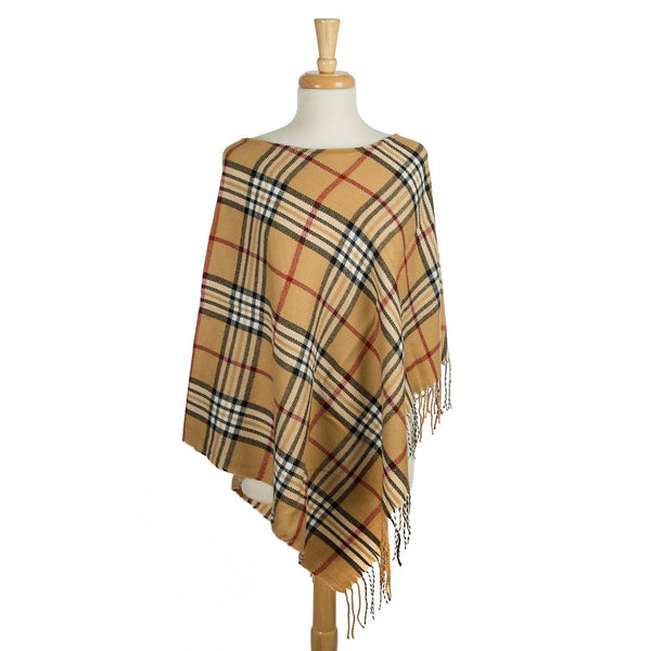 Midweight Poncho with a Plaid Print and Fringe Along the Edge (Available in 2 Colors)