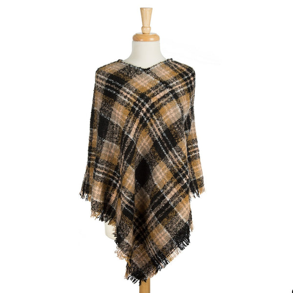 Midweight, Plaid Printed Poncho with Frayed Edges (Available in 2 Colors)