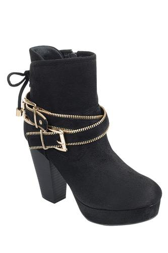 Ankle Boot with Zippered Detail - Black