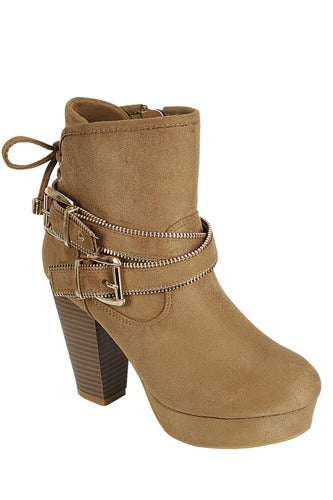 Ankle boot with Zippered Detail - Tan
