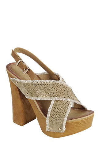 Beige Wedge Ankle Strap with Adjustable Buckle, Wooden Block Heel