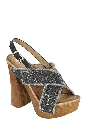 Black Wedge Ankle Strap with Adjustable Buckle, Wooden Block Heel