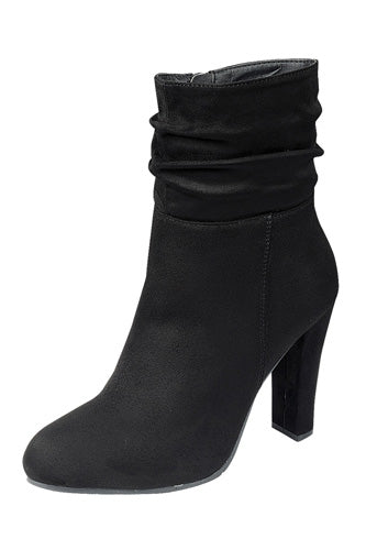 Gathered Detail Ankle Boot - Black