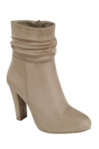 Gathered Detail Ankle Boot - Taupe