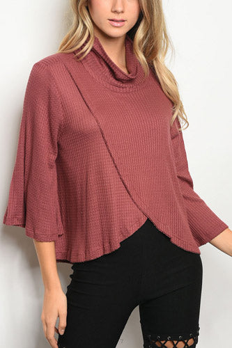 Long Bell Sleeve Cowl Neck Tulip Front Waffle Knit Slub Top - Mauve