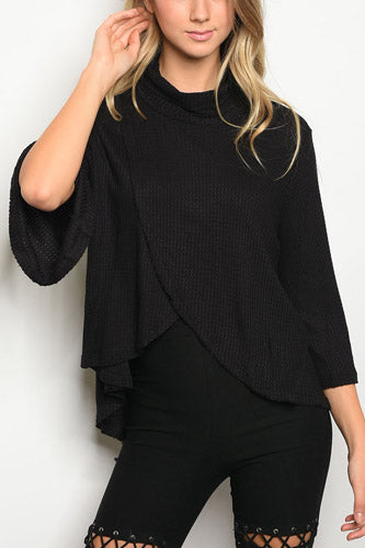 Long Bell Sleeve Cowl Neck Tulip Front Waffle Knit Slub Top - Black