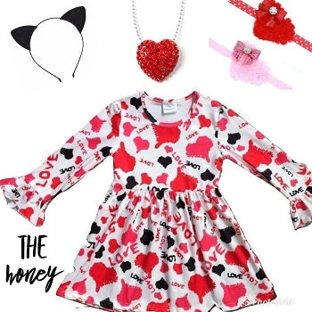 Red, Pink & Black Heart Boutique Dress - The Honey