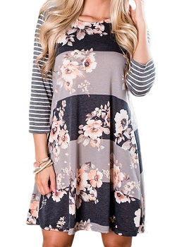 Grey, Navy & Taupe Floral Dress - Long Sleeve