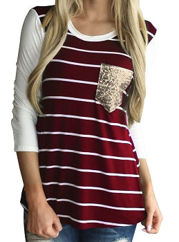 Wine Striped Raglan With Sequin Pocket