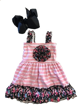 Pink & Black Floral Ruffle Dress