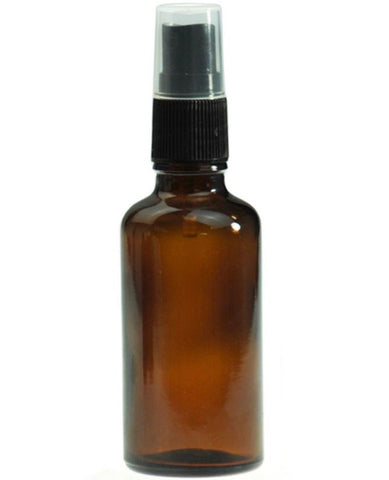50ml glass Amber bottles with black mister spray top