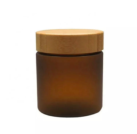 Amber Frosted Jar ~ Bamboo Lid