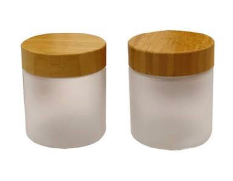 Frosted Jar ~ Bamboo Lid