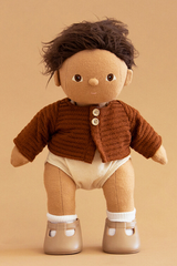 OLLI ELLA DINKUM DOLL SPROUT WEARING CARDIGAN CHESTNUT