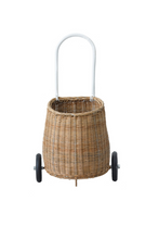 Olli Ella Luggy Basket Natural Pull Along On Wheels Front Image