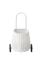 Olli Ella Luggy Basket White Pull Along On Wheels Front