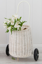 Olli Ella Luggy Basket White Pull Along On Wheels Lifestyle Image 1