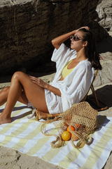 The Beach People Sand Free Cabana Towel Sunshine Yellow Loft Image Lifestyle 3