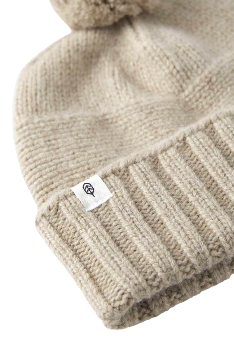 Will And Bear Tasman Beanie Wool in Fawn Detail Image