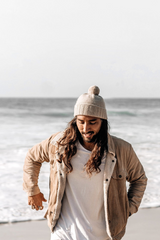 Will And Bear Tasman Beanie Wool in Fawn Mens Lifestyle Image