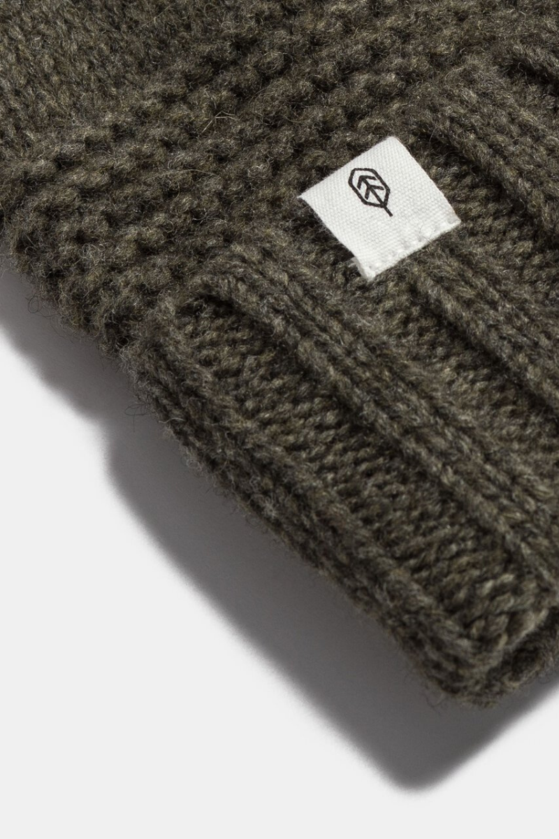 WIll And Bear Tasman Beanie Wool Moss Detail Image