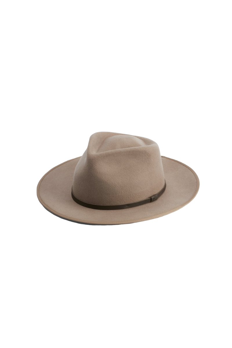 Will And Bear Calloway Fawn Mens Womens Wide Brim Fedora Australian Wool Front Image