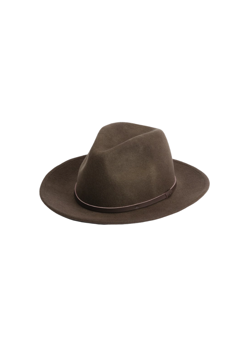 Will And Bear William Hat in Brown Mens Womens Wide Floppy Brim Fedora Australian Wool Front