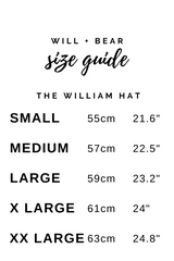 Will And Bear William Hat in Brown Mens Womens Wide Floppy Brim Fedora Australian Wool Sizing Guide
