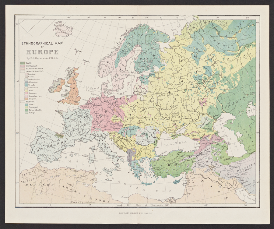Ravenstein, A.G. Ethnographical Map of Europe.  New York. 1880