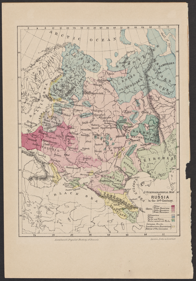 Rambaud, A. N.  Ethnographical map of Russia in 19 th century. 1898