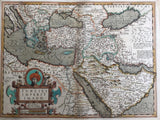 Turkey Osman empire Antique Original Mercator Map Balkans Russia Arabia Sea