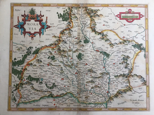 Moravia Antique Original Mercator Map Czech Bohemia Poland Hungary