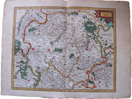 Germany Antique Original Mercator Map Palatinatus Rheni Deutschland Landkarte